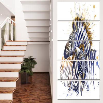 Designart Zebra Watercolor Rightwards Animal Canvas Wall Art- 5 Panels