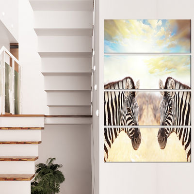 Designart Zebras Face To Face at Sunset African Canvas Art Print - 4 Panels