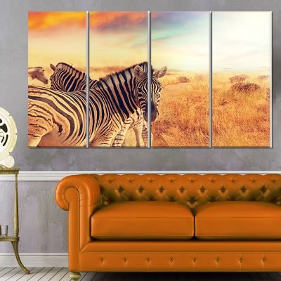 Zebras Herd in Field at Sunset Extra Large AfricanCanvas Art Print - 4 Panels