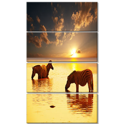 Zebras in Water at Sunset African Canvas Art Print- 4 Panels