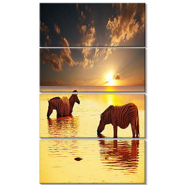 Designart Zebras in Water at Sunset African CanvasArt Print- 4 Panels