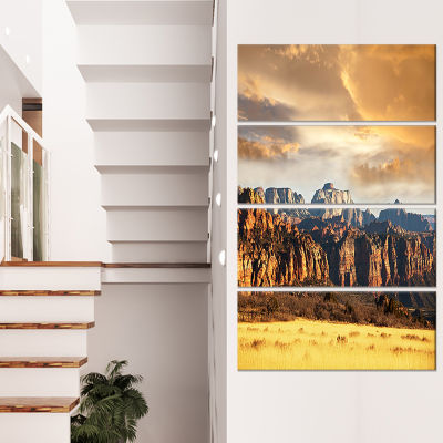 Designart Zion National Park Utah Usa Oversized Landscape Canvas Art - 4 Panels