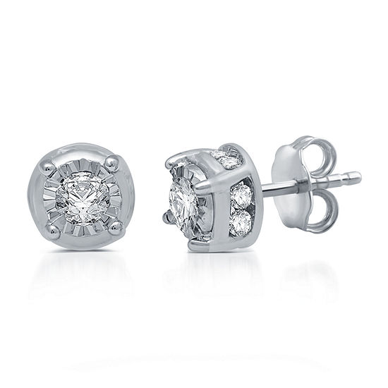 3/4 CT. T.W. Genuine White Diamond 10K White Gold Stud Earrings