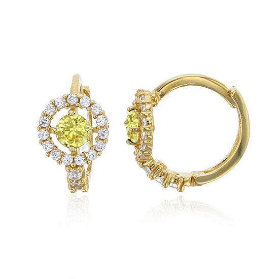 3 4 Ct Tw Simulated Multi Color Cubic Zirconia 14k Gold 10mm Round Hoop Earrings