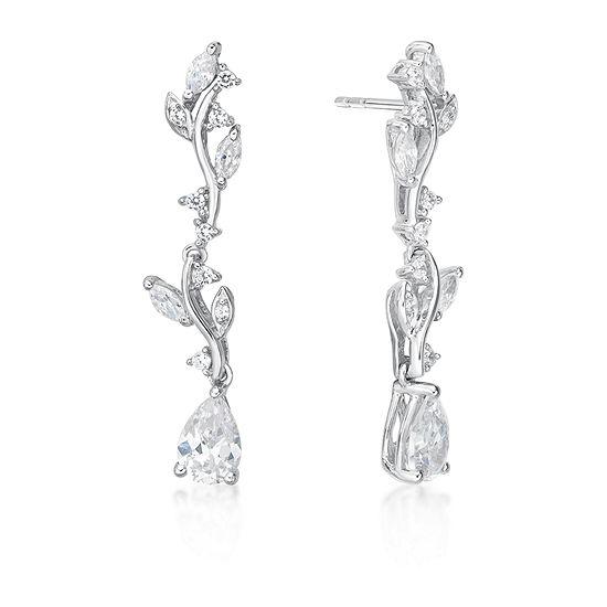 Diamonart 1 7/8 CT. T.W. White Cubic Zirconia Sterling Silver Drop Earrings