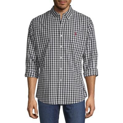 U.S. Polo Assn. Mens Long Sleeve Gingham Button-Front Shirt