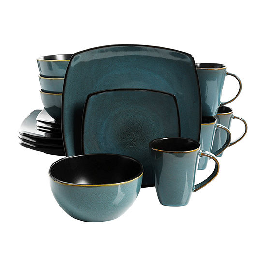 Soho Lounge 16-Piece Soft Square Dinnerware Set, Teal Green