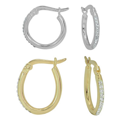 Sparkle Allure Simulated White 17mm Round Hoop Earrings