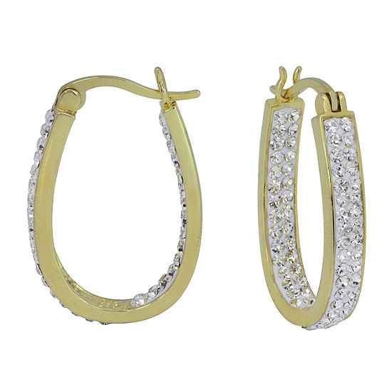 Sparkle Allure Simulated White Brass 26mm Round Hoop Earrings