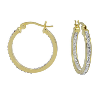 Sparkle Allure Sparkle Allure Simulated White Brass 25mm Round Hoop Earrings