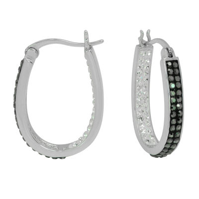Sparkle Allure Sparkle Allure Simulated White Brass 26mm Round Hoop Earrings