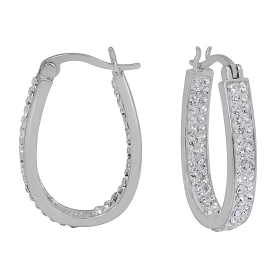 Sparkle Allure Simulated White 26mm Round Hoop Earrings