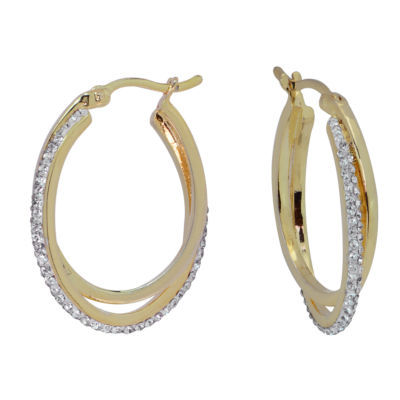 Sparkle Allure Sparkle Allure Simulated White Brass 29mm Round Hoop Earrings