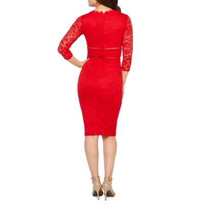Premier Amour 3/4 Sleeve Floral Lace Sheath Dress