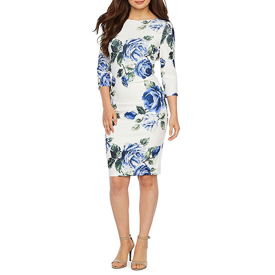 Premier Amour 3/4 Sleeve Floral Sheath Dress