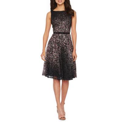 Danny & Nicole Sleeveless Lace Dot Print Fit & Flare Dress