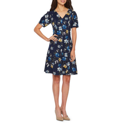 London Style Short Sleeve Floral Fit & Flare Dress