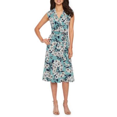 London Style Sleeveless Floral Wrap Dress