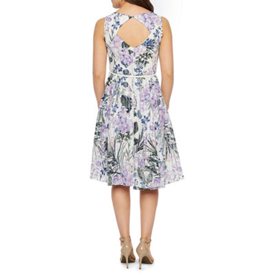 Danny & Nicole Sleeveless Floral Belted Fit & Flare Dress-Petite