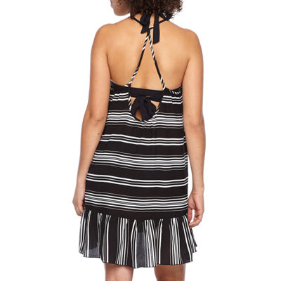 Porto Cruz Stripe Crepe Swimsuit Cover-Up Dress