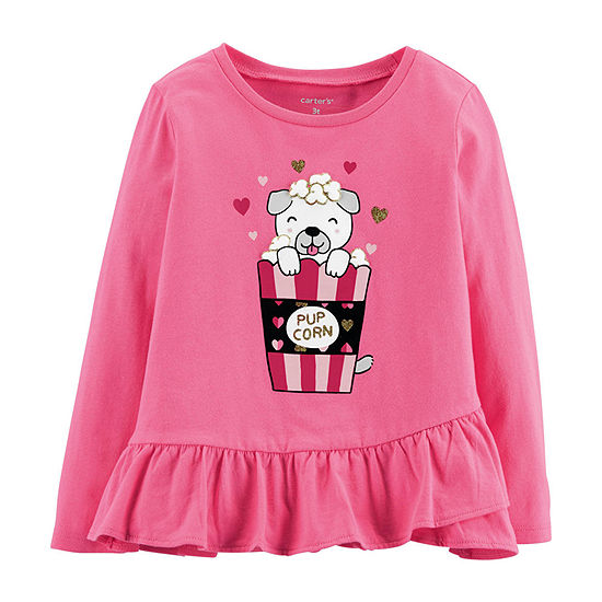 Carter's Girls Round Neck Long Sleeve Graphic T-Shirt - Baby