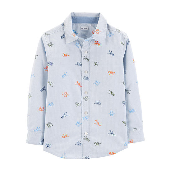 Carters Boys Long Sleeve Button Front Shirt