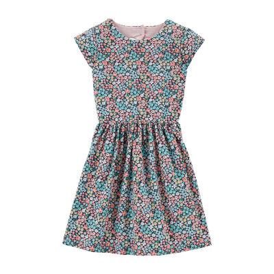 Carter's Short Sleeve Floral A-Line Dress Girls