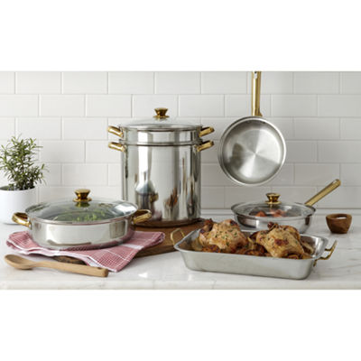 Cooks Stainless Steel Gold Handle Roaster