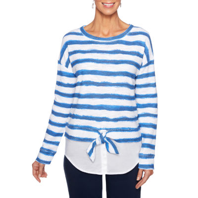 Lark Lane Must Haves I Womens Round Neck Long Sleeve Layered Top