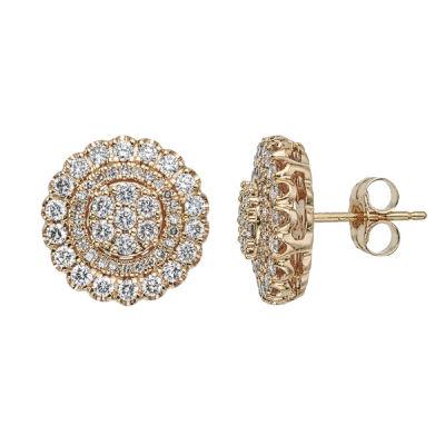 Diamond Blossom 1 CT. T.W. Genuine White Diamond 10K Gold 12.9mm Stud Earrings
