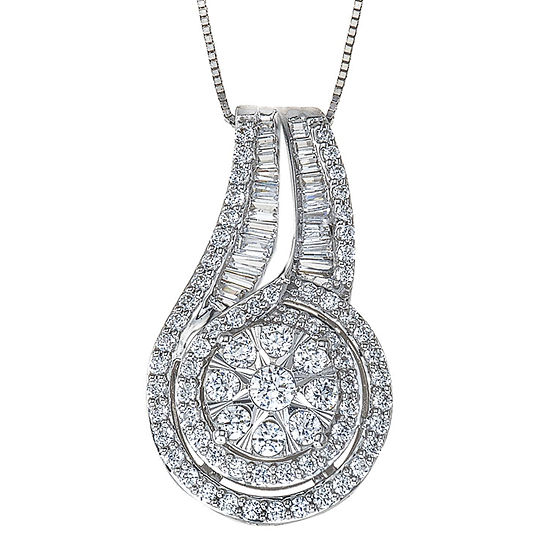 Diamond Blossom Womens 1 CT. T.W. Genuine White Diamond 10K White Gold Pendant Necklace