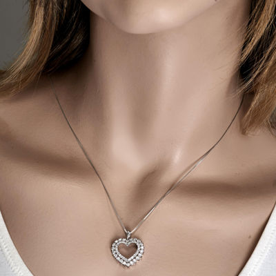 Womens 1/2 CT. T.W. Genuine White Diamond 10K White Gold Heart Pendant Necklace