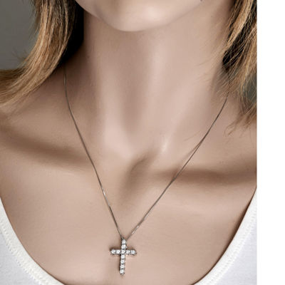 Womens 1/2 CT. T.W. Genuine White Diamond 10K White Gold Cross Pendant Necklace