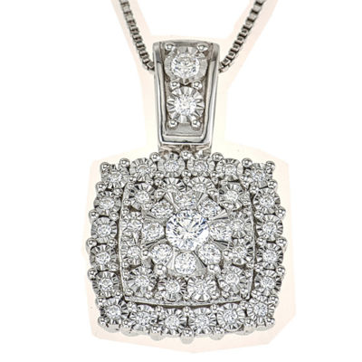 Diamond Blossom Womens 1/2 CT. T.W. Genuine White Diamond 10K White Gold Pendant Necklace