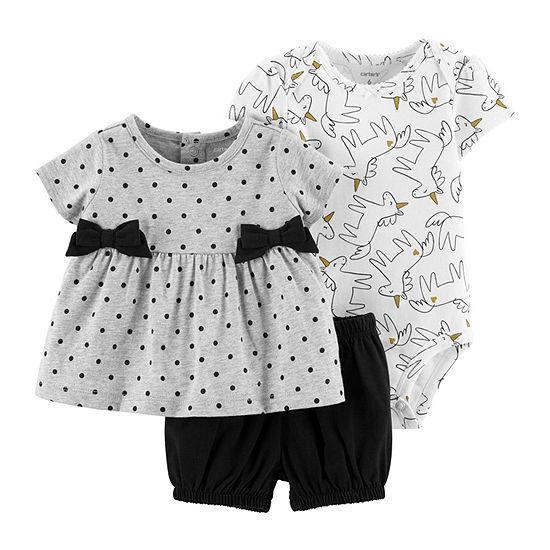 Carter's 3-Pc. Bodysuit Set - Baby Girl 3-pc. Short Set Baby Girls