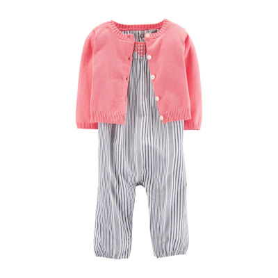Carter's 2-Pc. Romper With Sweater Set - Baby Girls