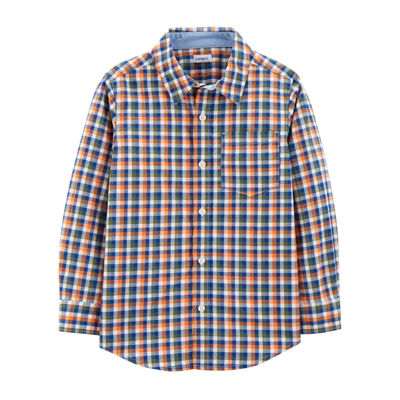 Carter's Plaid Button Front Long Sleeve Shirt - Toddler Boys