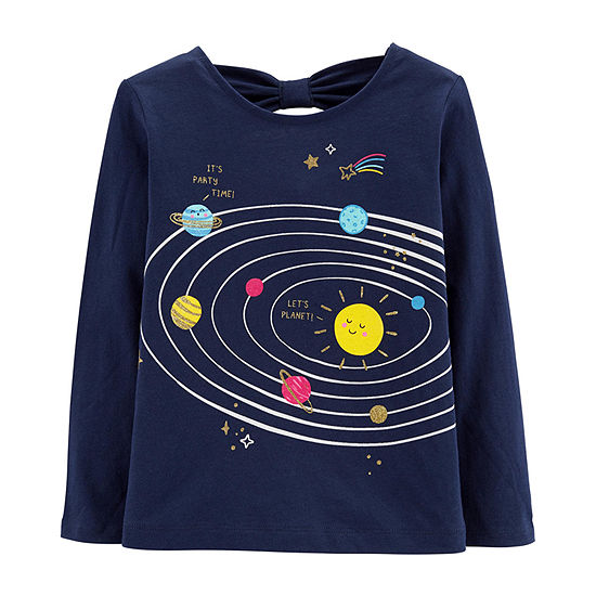 Carters Girls Round Neck Long Sleeve Graphic T Shirt Toddler