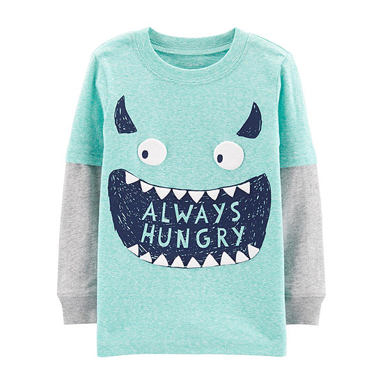 Carter's Boys Round Neck Long Sleeve Graphic T-Shirt-Toddler