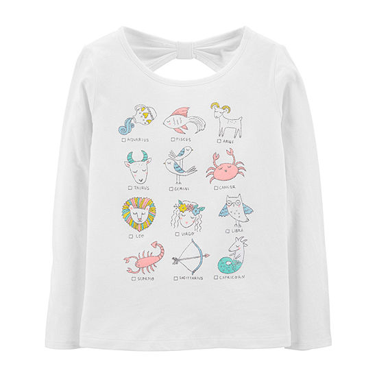 Carters Carters Hoodie Preschool Girl Girls Round Neck Long Sleeve Graphic T Shirt Preschool Big Kid
