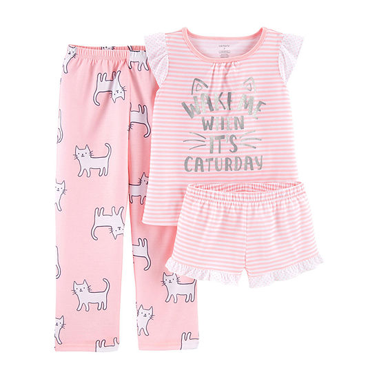 Carters 3 Pc Pajama Set Preschool Big Kid Girls