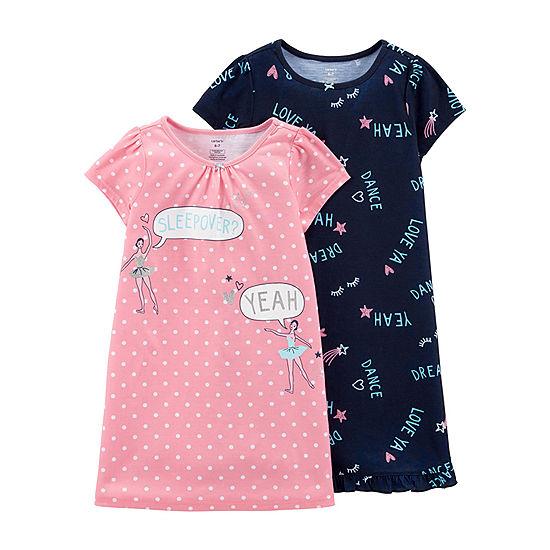 ad313463f Carter s 2-Pk Round Neck Knit Pajama Nightgown - Preschool Girls ...