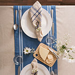 "Tickled Pink 72"" X 14"" Chambray French Stripe Table Runner"