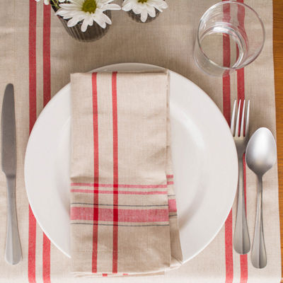 "Tickled Pink Red 108"" X 14"" French Stripe Table Runner"