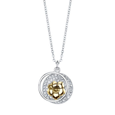 Disney Womens Crystal Pure Silver Over Brass Lilo & Stitch Pendant Necklace