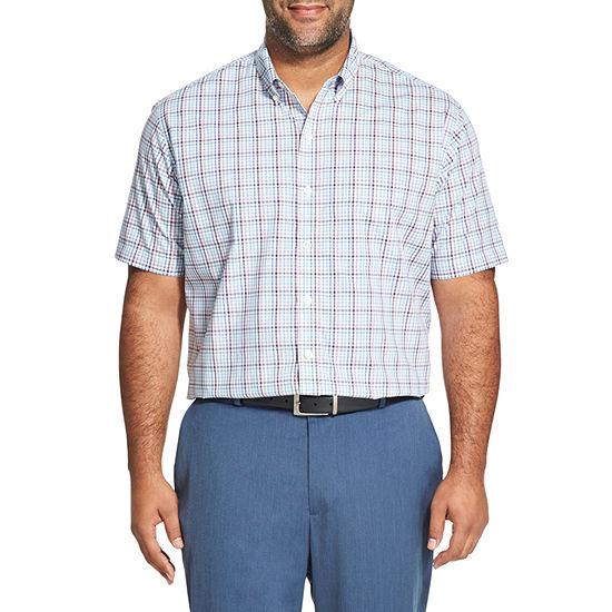 Van Heusen Mens Short Sleeve Checked Button-Front Shirt Big and Tall