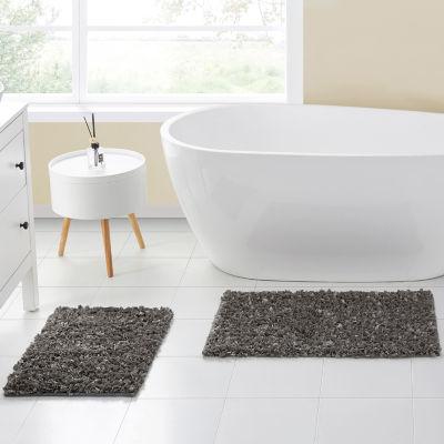 VCNY Glossy Paper Shag Bath Rug Set
