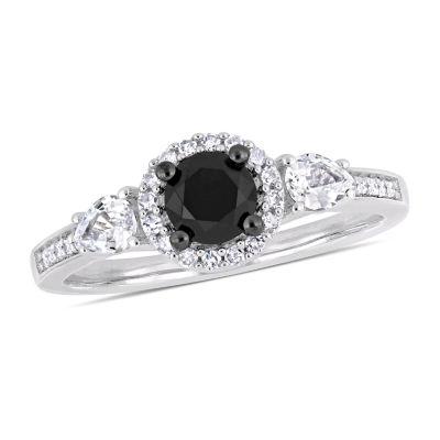 Modern Bride Gemstone Womens 5/8 CT. T.W. Genuine Black Diamond 10K White Gold Engagement Ring