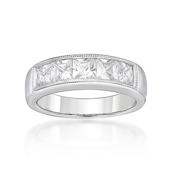 Diamonart Womens 3.5MM 2 CT. T.W. White Cubic Zirconia Sterling Silver Band