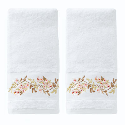 Saturday Knight Misty Floral 2-pk Embroidered Hand Towels